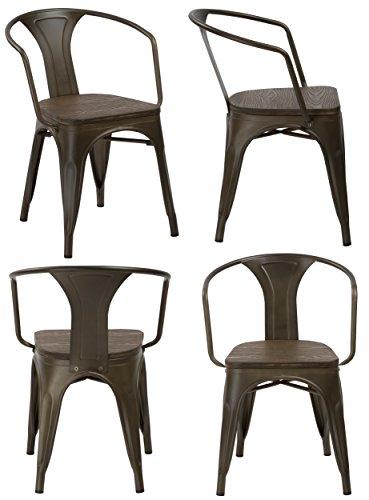 Bistro Stackable (BTEXPERT Industrial Metal Antique Copper Bronze Indoor Outdoor Rustic Distressed Dining Bistro Cafe Stackable Arm Chair)