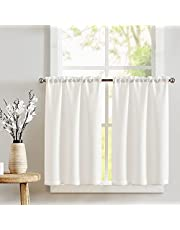 JINCHAN Kitchen Curtains Tier Curtains for Living Room Linen Textured Cafe Curtains for Bathroom Farmhouse Country Light Filtering Short Window Curtain Set Rod Pocket 2 Panels