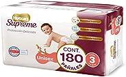 Huggies Supreme Pañal Desechable para Bebé, Etapa 3 Unisex, Caja con 180 Piezas, Ideales para niños de 7 a 10