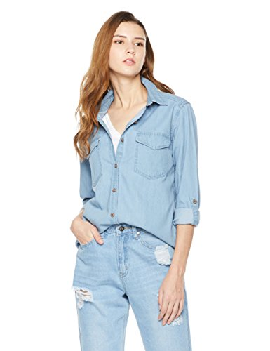 Lily Parker Women's Basic Classic Long Sleeve Denim Chambray Shirt TS1101 Small Light - Denim Blue Jean