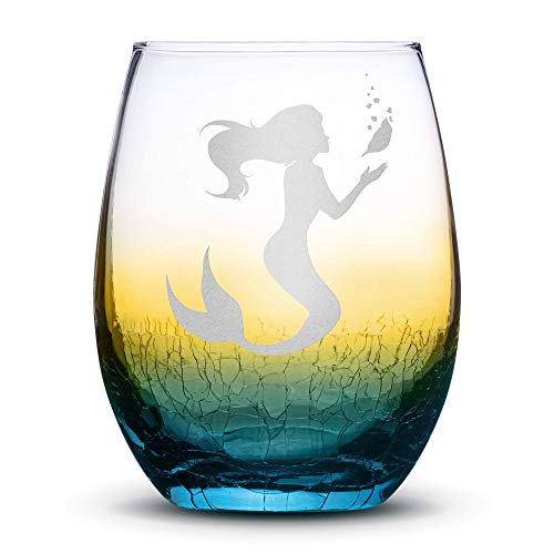 Integrity Bottles Premium Stemless Wine Glass, Mermaid #1, Crackle Ombre, Handblown, Holding Sea Shell, Hand Etched Gifts, Sand Carved (Drinking Seashell Glasses)