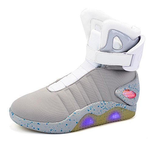 Green Hope-Rise Field Men' Fabric LED Flashing High-Top Shoes Light Up Sneakers DQBF95-Grey-44