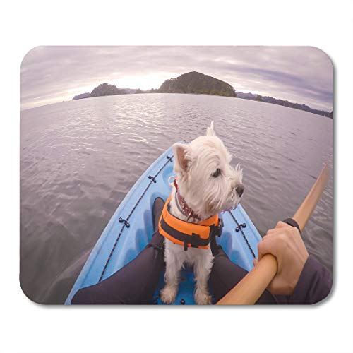 Emvency Mouse Pads West Highland White Terrier Westie Dog Wearing Life Jacket Kayaking in Paihia Bay of Islands New Zealand MousePad 9.5