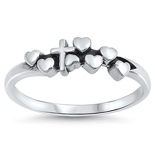 Silver Chastity Ring (Hearts and Cross Purity Chastity Band .925 Sterling Silver Ring Sizes 5)