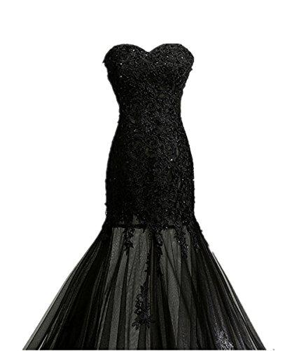 Zorabridal Vintage Gothic Mermaid Beaded Lace Black Wedding Dress ...