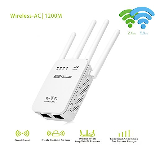 Pix-Link AC1200 Dual Band WIFI Repeater/Router/Access Point Wireless 1200Mbps Range Extender Wi-Fi Signal Amplifier 4 External (Dual Band Cellular Amplifier)