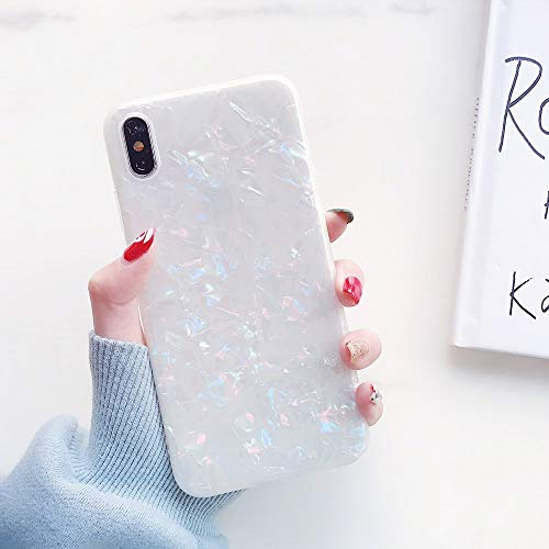 iPhone Xs Max Case for Girls, YeLoveHaw Glitter Pearly-Lustre Translucent Shell Pattern Phone Case [Flexible Soft, Slim Fit, Full Protective] for iPhone Xs Max 6.5 Inch (Colorful)