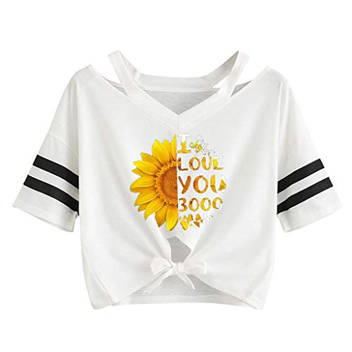 - Sunhusing Ladies Sunflower Letters Digital Print Hem Bow Strappy Two Bars Stripes Off-Shoulder Short Sleeve Tops White