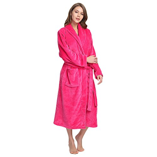 - M&M Mymoon Womens Fleece Robe Soft Plush Bathrobe Long Thicken Warm Kimono Shawl Collar One Piece Homewear(S/M,Rose red)