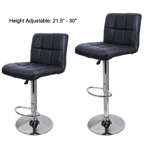 FCH Set of 2 Square PU Leather Barstools Height Adjustable from 21 1/2-30 360°Swivel Bar Stools with Large Paded Seat/Backrest/Footrest for Kitchen, Home, Office Black