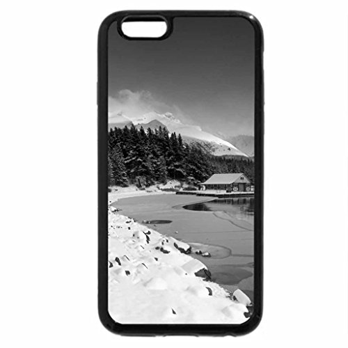 iPhone 6S Plus Case, iPhone 6 Plus Case (Black & White) - lodge on lake in winter