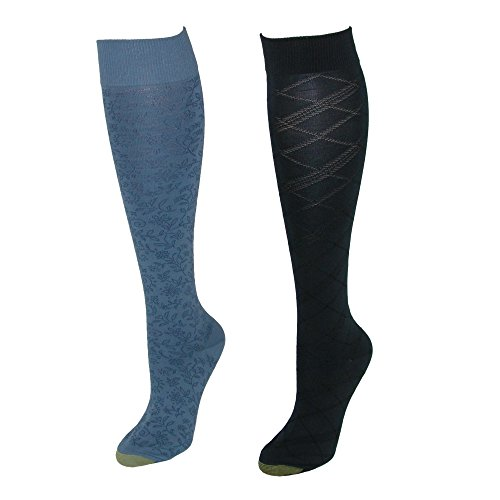 Gold Toe Women's Patterned Knee High Socks (2 Pair Pack), Blue Navy by Gold Toe