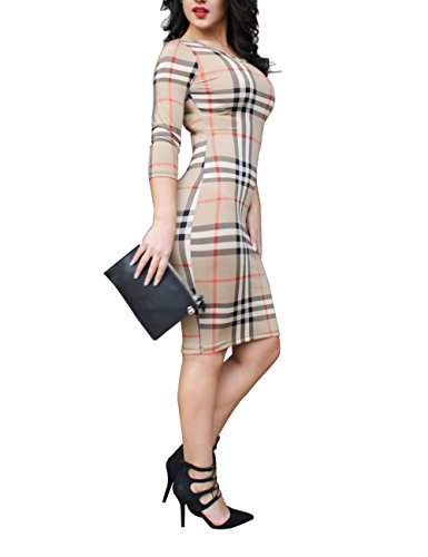 JudyBridal Women Sexy Casual Long Sleeves Plaid Bodycon Party Cocktail Club Dress XXL Plaid (Sexy Western Dress)