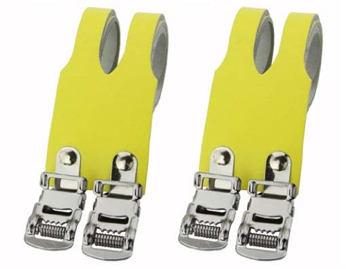 Leather Double Toe Straps Yellow. Bike pedal strap, bicycle