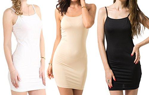 Chifave Women's Sexy Bodycon Spaghetti Strap Cami Slip Under Mini Dress (M, 3)