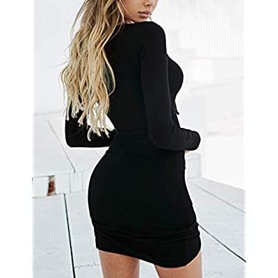 Navvour Women's Long Sleeve Deep V Neck Bandage Ruched Bodycon Club Mini Dress: Clothing