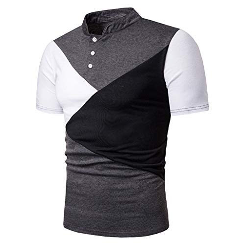 POQOQ T Shirts Polo Tops Blouse Men's Performance Polo Men's Regular-fit Quick-Dry Stitching Golf Polo Shirt XS Dark Gray -