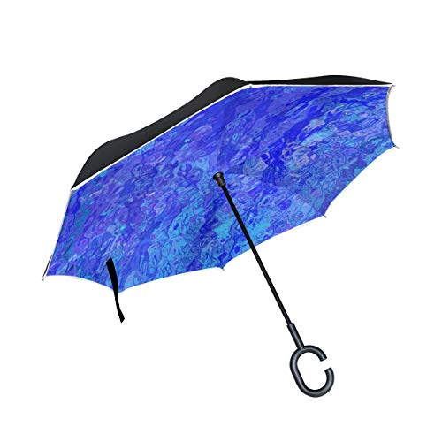 (Jnseff Double Layer Inverted Texture Structure Pattern Abstract Blue Umbrellas Reverse Folding Umbrella Windproof Uv Protection Big Straight Umbrella for Car Rain Outdoor with C-Shaped Handle)