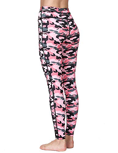 Pink Camouflage Pants - Hioinieiy Womens Camo Printed Leggings High Waisted Camouflage Workout Sport Gym Spandex Yoga Pants for Women Juniors Teens Pink XL