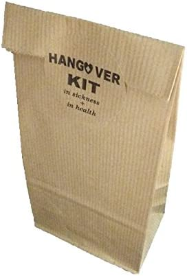 50 Kraft Bags HANGOVER KIT- KIT ANTIRESACA texto en inglés