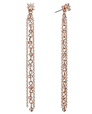 Women's Stud and Bead Chain Tassel Dangle Pierced Earrings, Rose Gold-Tone (Rose Gold Tone Chain)