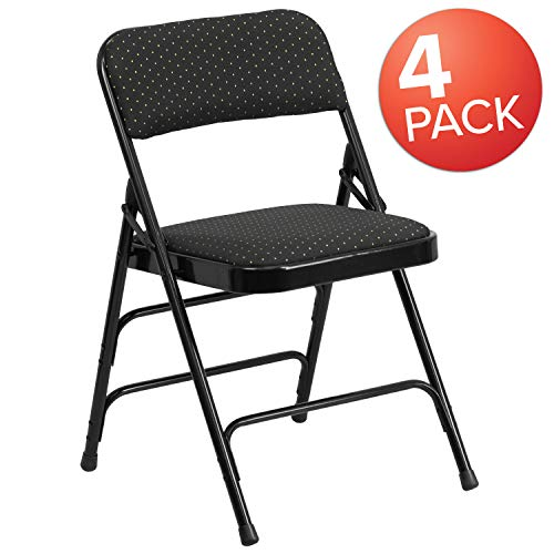 Flash Furniture 4 Pk. HERCULES Series Curved Triple Braced & Double Hinged Black Patterned Fabric Metal Folding Chair (Curved 4 Seat)