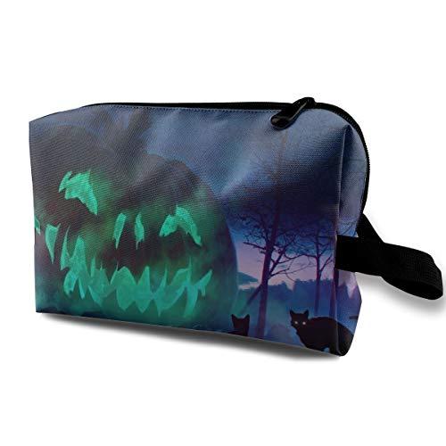 Night Cats Pumpkin Cosmetic Bags Makeup Organizer Bag Pouch Zipper Purse Handbag Clutch Bag]()
