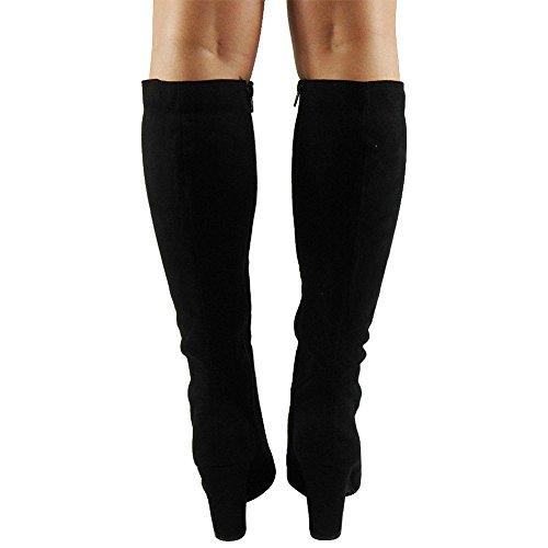 Tilly Shoes rodilla Mid Calf Botas de ante sintético de cordones, talón de bloque de con cremallera tamaño Negro - negro