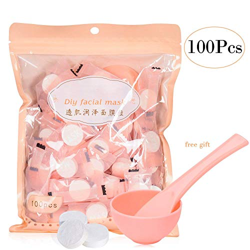 (100Pcs Compressed Facial Mask Grain Skin Care Dry Sheet Mask Paper DIY Natural Face Cotton Mask Sheet With Free Mask Bowl and Stick (100)