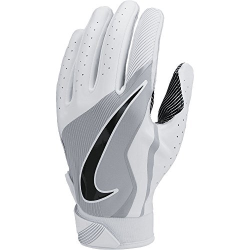 Boy's Nike Vapor Jet 4 Football Gloves White/Wolf Grey/Black Size Large (3 Pack) by NIKE