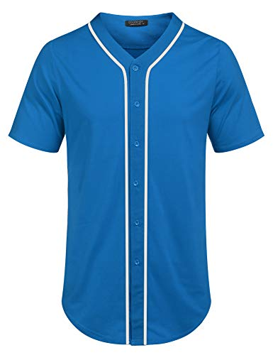 COOFANDY Men's Baseball Team Jersey Button Down Shirt Short Sleeve Top Blue