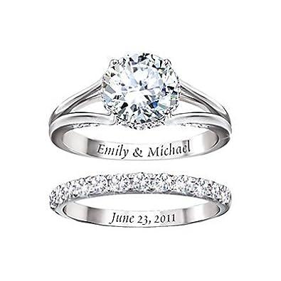 Diamonesk Personalised Bridal Ring Set by The Bradford Exchange