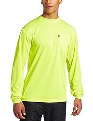 Key Apparel Men's Big-Tall Long Sleeve Enhanced Visibility Waffle Weave Pocket Tee Shirt, Hi-vis, Medium-Tall