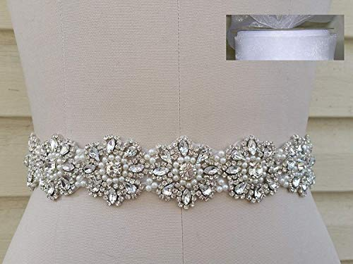 "Crystal Pearl Wedding Dress Sash Belt in White Sheer Organza Sash = 18"" Long"