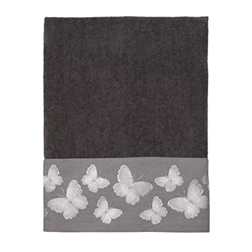 Avanti Linens Yara Bath Towel, One Size, - Butterfly Hand Embroidered Towel