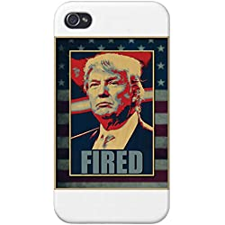 Apple iPhone Custom Case 4 4S White Plastic Snap On - Fired (Blue) Anti Trump
