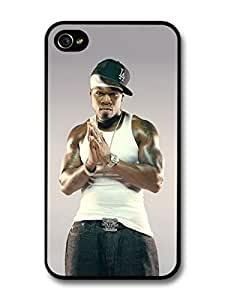 AMAF ? Accessories 50 Cent Praying with Hat and White Tank case for iPhone 4 4S