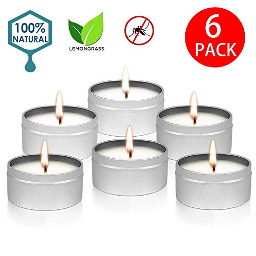 YYCH Citronella Candles Outdoor Indoor Portable Travel tin 6 Pack Gift Set Pure Soy Wax Gift Set 10-12 Hour Burn Highly Scented Long Lasting (6 x 2 Ounce, Tin) (Best Citronella Candles For Camping)