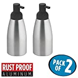 mDesign Rustproof Aluminum Liquid Hand Soap Dispenser Pump Bottle for Kitchen, Bathroom | Also Can be Used for Hand Lotion & Essential Oils - Pack of 2, Large, Brushed/Matte Charcoal