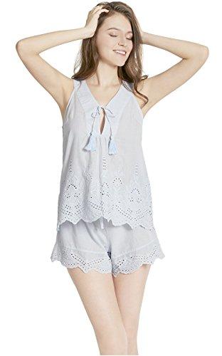 Pure Cotton Women Pajamas Set - Camisole V Neck Pajama Shorts for Women, Lounge Sleepwear Set, Plein Air S