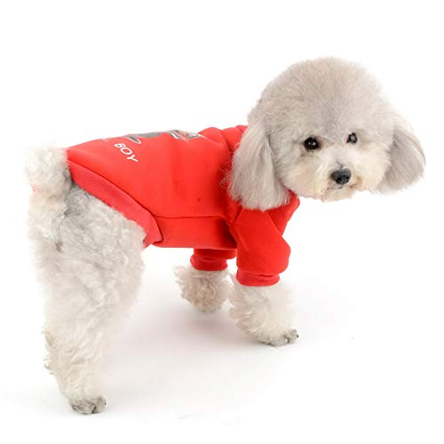 SELMAI Dog Basic Cotton Sweater Fleece Sweatshirt Pullover 2 Legs Casual Warm Autumn Winter Coat Jacket Outfits for Small Pet Puppy Cat Chihuahua Yorkie Apparel Red XL