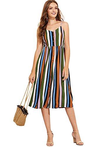 Button Front Suit - Romwe Women's Colorblock Striped Cami Jumpsuit Button Front Knee Length Wide Leg Romper Multicolor XL