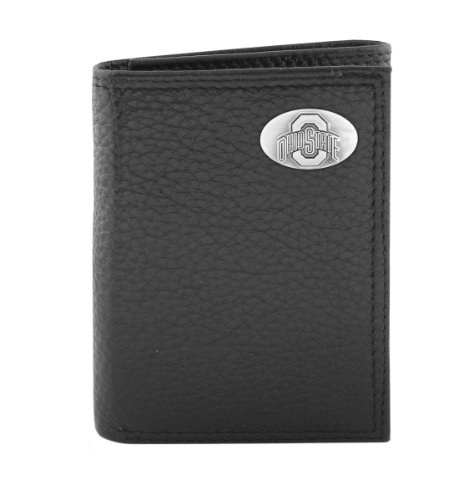 (NCAA Ohio State Buckeyes Black Pebble Grain Leather Trifold Concho Wallet, One Size)