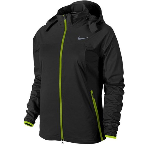 Nike Women's Shield Light Running Jacket Coat, Black Volt, X-Small, 645639 010