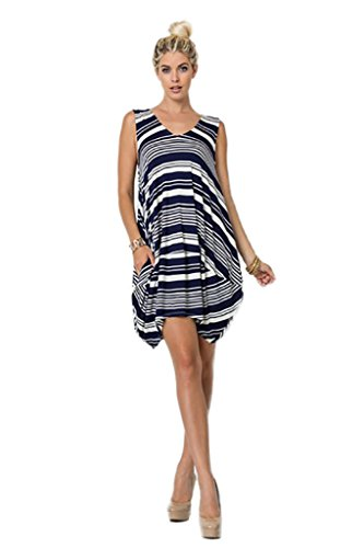 Great Deals 4 U Now Striped Drape Pocket Women's Bubble Mini Dress - Navy - Small