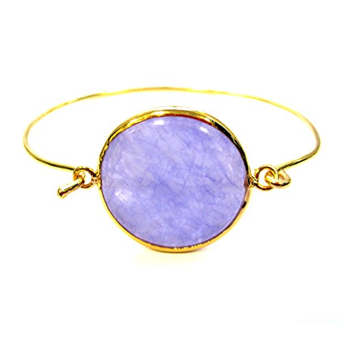 Lavender jade embeded pendant bangle bracelet 18k yellow gold plated