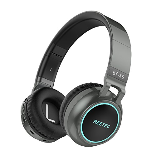 Reetec V4.1 Over-Ear Wireless Headphones Folding Hi-Fi Low Bass Stereo Headsets with Microphone and Volume Control LED Lights Display Wired Support TF Card for Cell Phones Android Tablet PC (Grey)