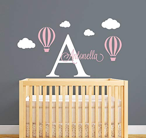 Wall Stickers for Kids Personalized Name Wall Decal Hot Air Balloon Wall Stickers for Kids Room- Girls Name Wall Decal Customize DIY Wall Art JW028]()