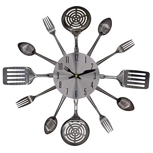 LONBUYS Kitchen Cutlery Wall Clock with Forks and Spoons for Home Decor Silent Non Ticking Quality Quartz Battery Operated for Home Office School ()