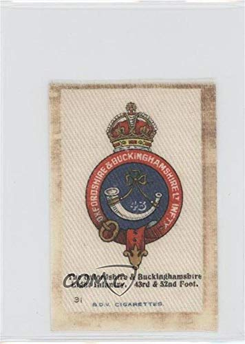 The Oxfordshire & Buckinghamshire Light Infantry, 43rd & 52nd Foot. Ungraded COMC Good to VG-EX (Trading Card) 1915 B.D.V. Regimental Emblems Silks - Tobacco [Base] #31 (Buckinghamshire Light)